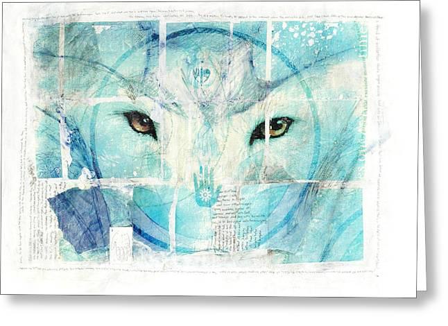 Encaustic Greeting Cards - Transcend Greeting Card by Janelle Schneider