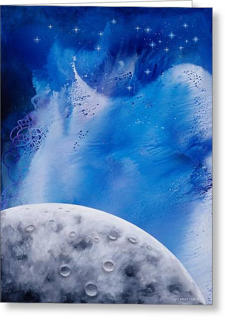 Transcendental Moon Greeting Card by Lee Pantas