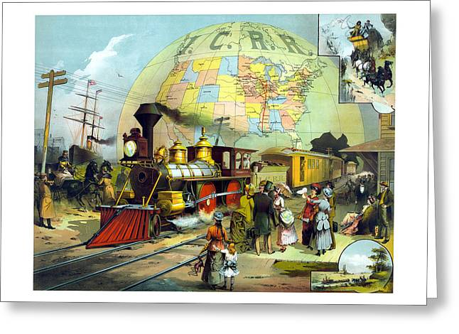 Trains Paintings Greeting Cards - Transcontinental Railroad Greeting Card by War Is Hell Store