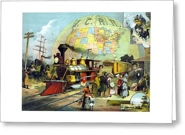 Railway Locomotive Greeting Cards - Transcontinental Railroad Greeting Card by War Is Hell Store