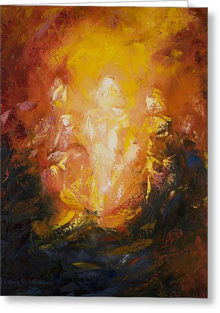 Jesus Paintings Greeting Cards - Transfiguration Greeting Card by Lewis Bowman