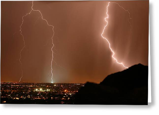 Arizona Lightning Greeting Cards - Transformer Strike Greeting Card by Cathy Franklin