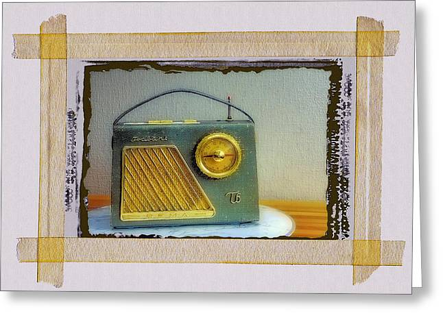 Mid Century Radio Greeting Cards - Transistor Radio Greeting Card by Dominic Piperata