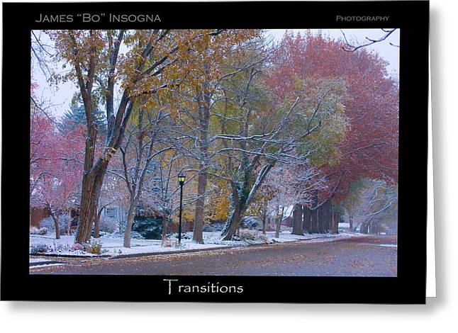Lightning Gifts Greeting Cards - Transitions Autumn to Winter Snow Poster Greeting Card by James BO  Insogna