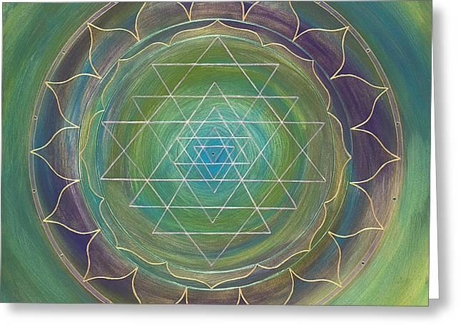 Translucent Sri Yantra Greeting Card by Charlotte Backman