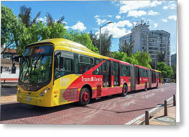 Transmilenio Bus In Bogota Greeting Card by Jess Kraft