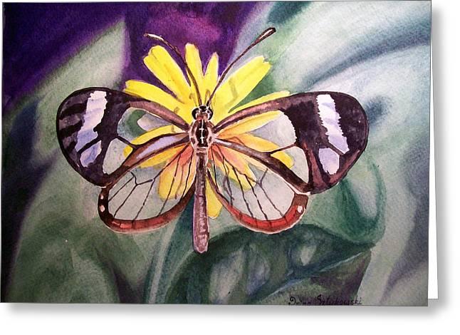Yellow Flower Gift Greeting Cards - Transparent Butterfly Greeting Card by Irina Sztukowski
