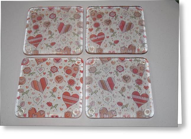 Valentine Glass Art Greeting Cards - Transparent Heart Coasters Greeting Card by Rosalind Duffy