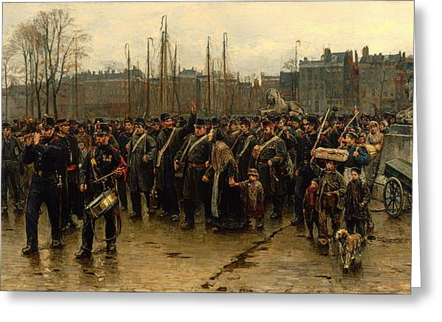 Historic Ship Greeting Cards - Transport Of Colonial Soldiers Greeting Card by Isaac Israels