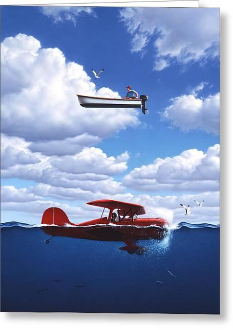 Plane Paintings Greeting Cards - Transportation Greeting Card by Jerry LoFaro
