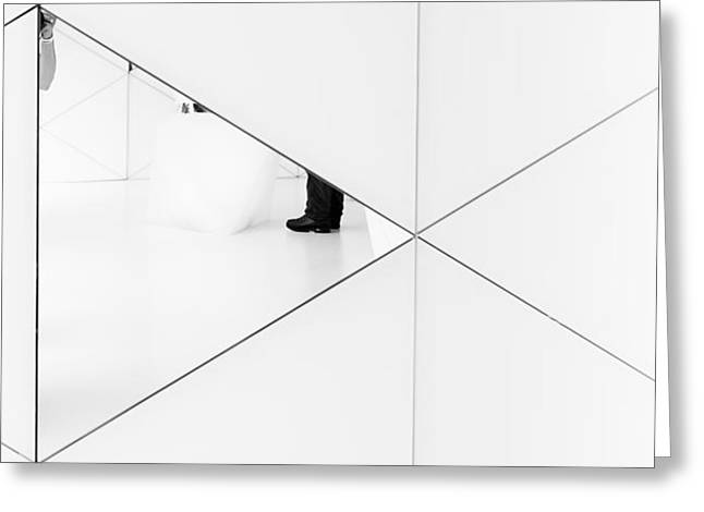 Mirrors Greeting Cards - Trapped In A Mirror. Greeting Card by Greetje Van Son