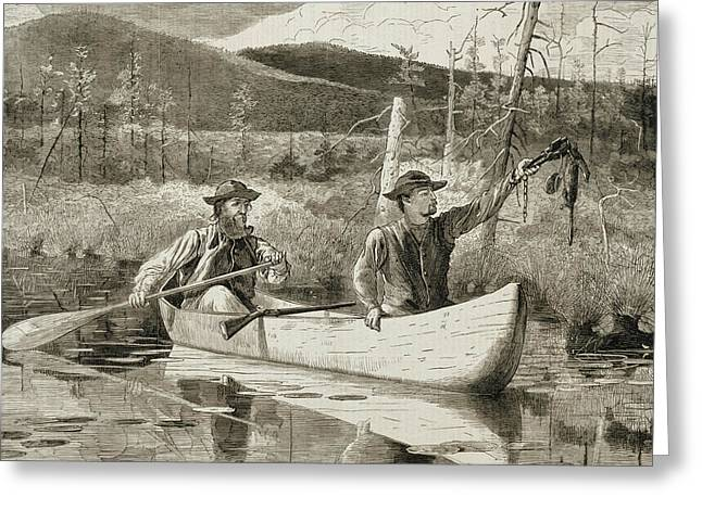 Canoe Reliefs Greeting Cards - Trapping in the Adirondacks Greeting Card by Winslow Homer