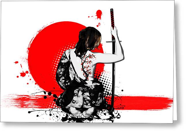 Blossom Tree Greeting Cards - Trash Polka - Female Samurai Greeting Card by Nicklas Gustafsson