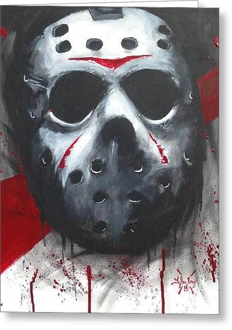 Jason Voorhees Greeting Cards - Trash polka jason Greeting Card by Tyler Haddox