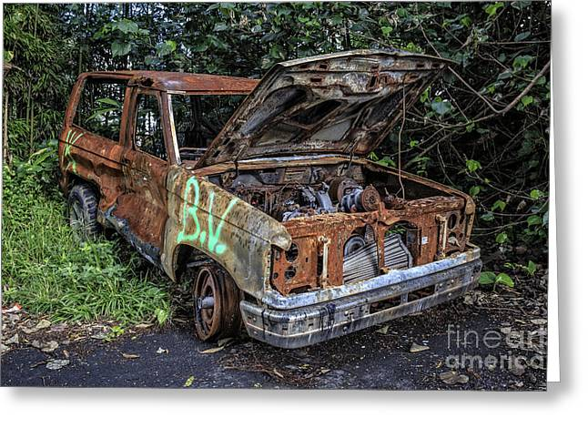 Junker Greeting Cards - Trashed Car Maui Hawaii Greeting Card by Edward Fielding