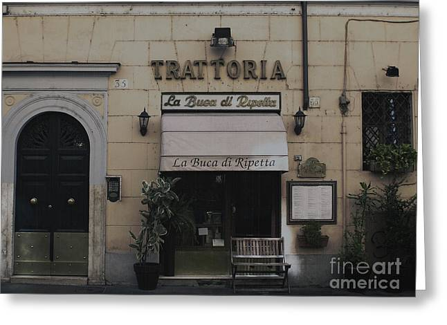 Menu Greeting Cards - Trattoria Greeting Card by Toula Mavridou-Messer