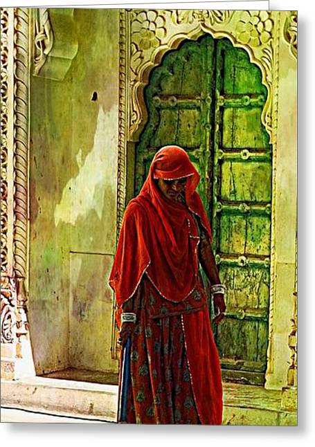 Dress Greeting Cards - Travel Slice of Life Spring Cleaning Sun Fort India Rajasthan 2a Greeting Card by Sue Jacobi