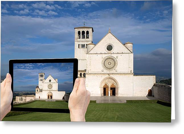 Medieval Temple Greeting Cards - Travel to Assisi concept Greeting Card by Jaroslav Frank