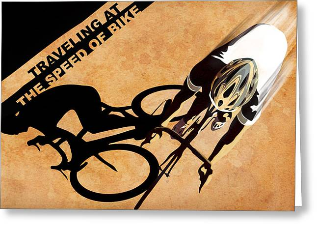 Stencil Art Greeting Cards - Traveling at the speed of Bike Greeting Card by Sassan Filsoof