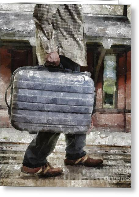 Depot Greeting Cards - Traveling Man Greeting Card by Edward Fielding