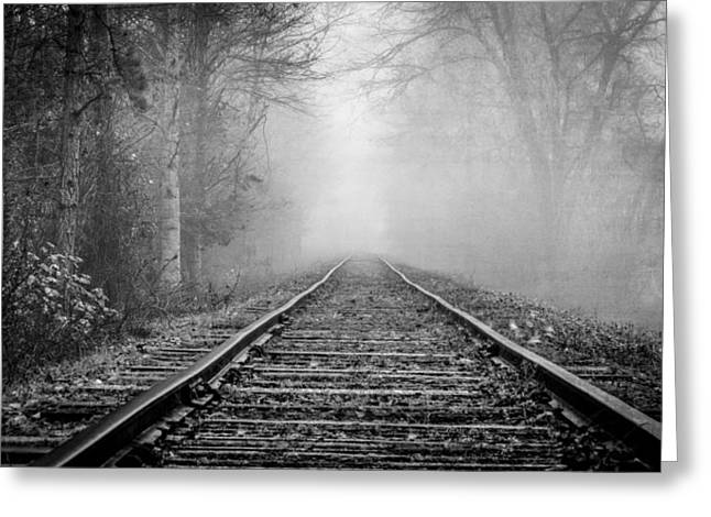 Rural Snow Scenes Greeting Cards - Traveling on the Tracks Black and White Greeting Card by Debra and Dave Vanderlaan