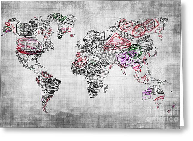 Planet Map Greeting Cards - Traveller world map grey Greeting Card by Delphimages Photo Creations