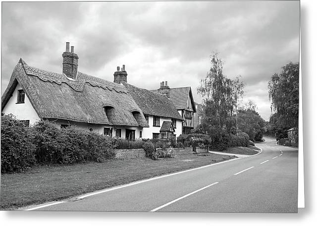 Travellers Delight - English Country Road Black And White Greeting Card by Gill Billington