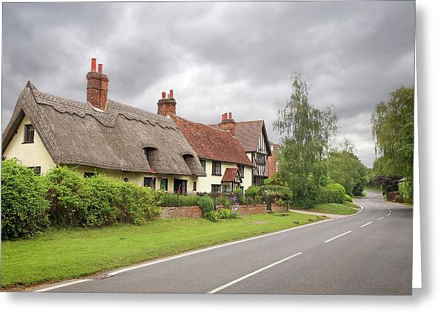 Travellers Delight - English Country Road Greeting Card by Gill Billington