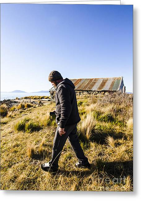 Travelling Man Touring Australia Greeting Card by Jorgo Photography - Wall Art Gallery