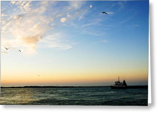 Sipping Greeting Cards - Travels at Sunset Greeting Card by Marilyn Hunt