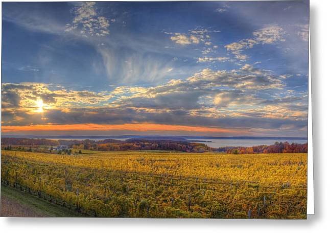 Traverse Greeting Cards - Traverse City from Old Mission at Sunset Greeting Card by Twenty Two North Photography