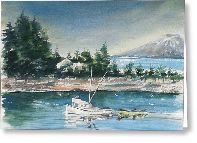 Salmon Paintings Greeting Cards - Trawler and Mt Edgecumbe Greeting Card by Harley Dean Harp