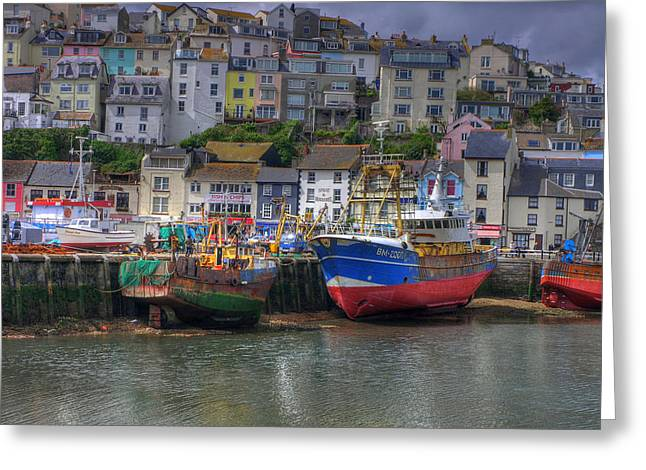 Quay Wall Greeting Cards - Trawler in Brixham Harbour Greeting Card by Mike Lester