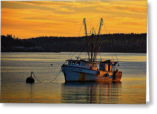 Wooden Ship Greeting Cards - Trawler Sunrise Greeting Card by Stuart Litoff
