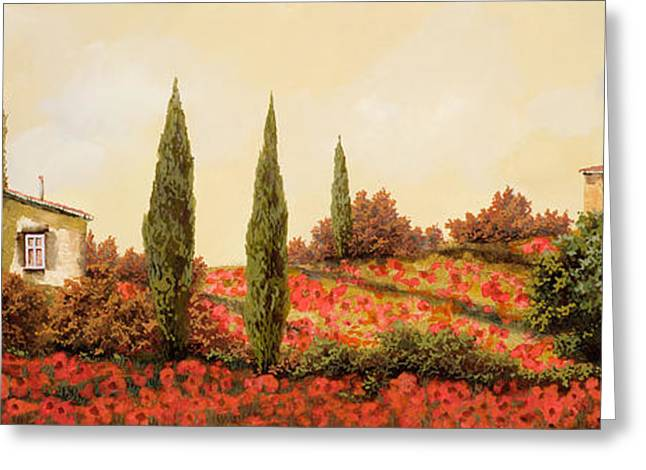 Landscapes Greeting Cards - Tre Case Tra I Papaveri Greeting Card by Guido Borelli