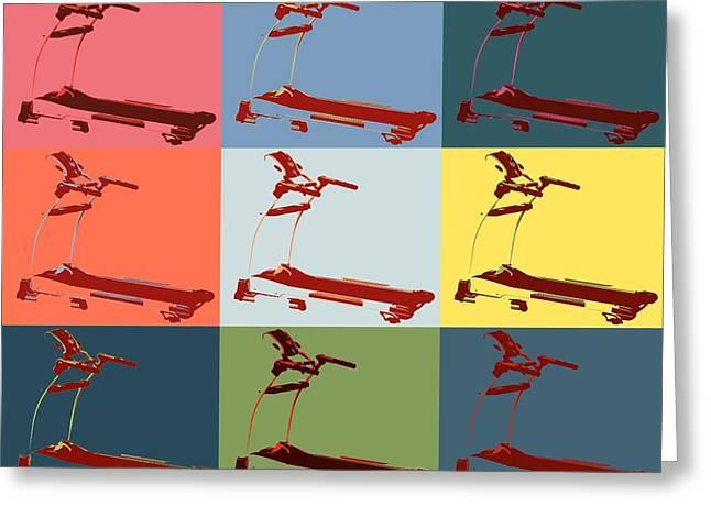 Treadmill Pop Art Panels Greeting Card by Dan Sproul