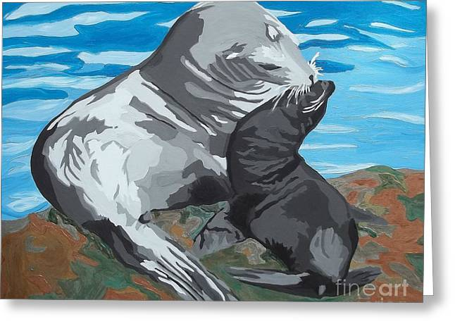 California Sea Lions Greeting Cards - Treasure Greeting Card by Amy Pugh