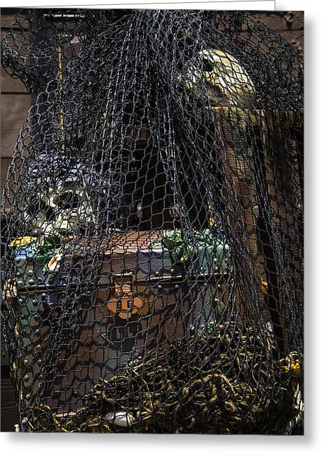 Treasure Chest In Net Greeting Card by Garry Gay