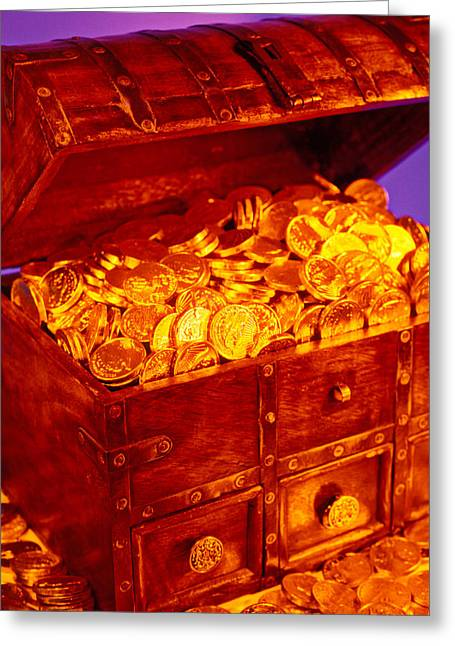 Precious Treasures Greeting Cards - Treasure chest with gold coins Greeting Card by Garry Gay