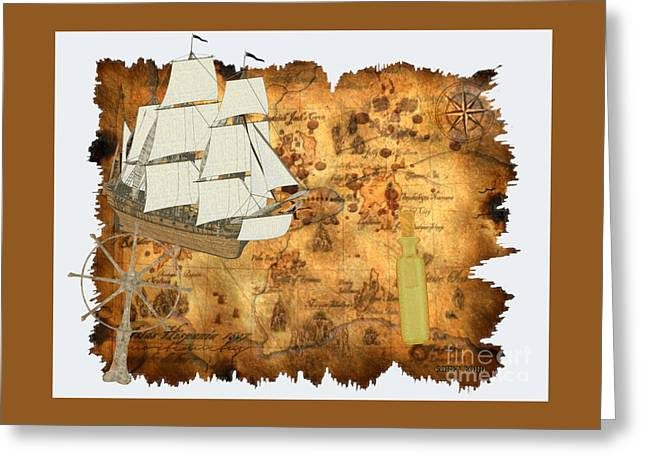 Treasure Map Greeting Card by Corey Ford