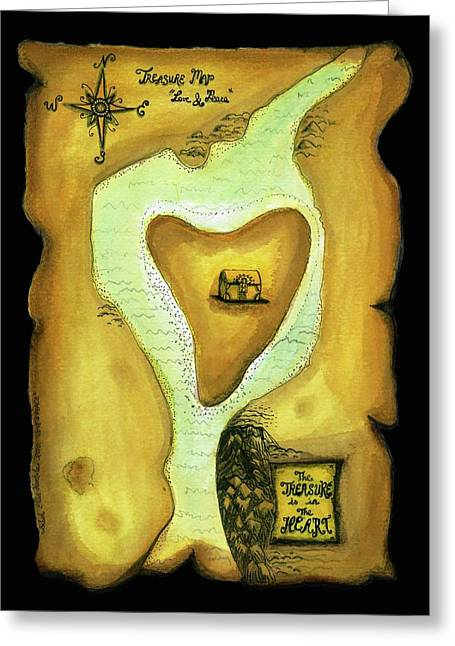 Treasures Drawings Greeting Cards - Treasure Map Greeting Card by Sibel Kantola