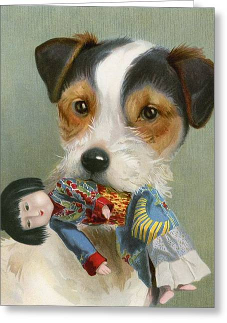 Mans Best Friend Greeting Cards - Treasure Trove Greeting Card by English School