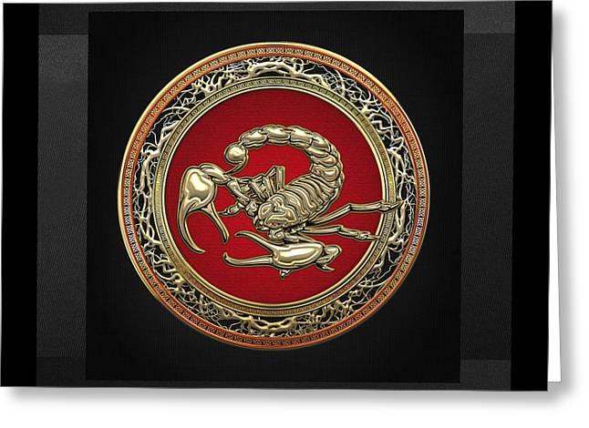 Treasure Trove - Sacred Golden Scorpion On Black Greeting Card by Serge Averbukh