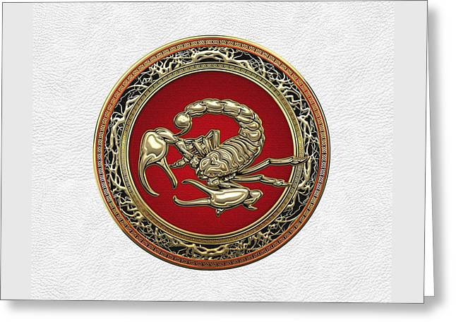 Treasure Trove - Sacred Golden Scorpion On White Lather Greeting Card by Serge Averbukh