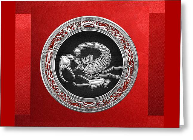 Treasure Trove - Sacred Silver Scorpion On Red Greeting Card by Serge Averbukh