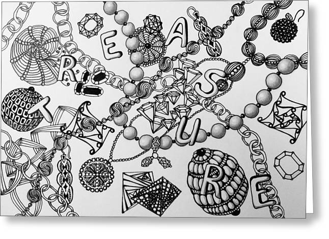 Treasures Drawings Greeting Cards - Treasures  Greeting Card by Elena Kul