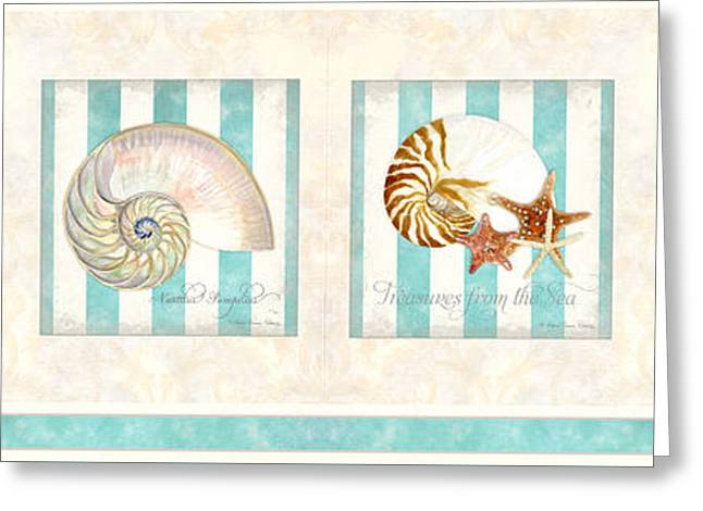 Sand Pattern Greeting Cards - Treasures from the Sea - Nautilus Shell Greeting Card by Audrey Jeanne Roberts