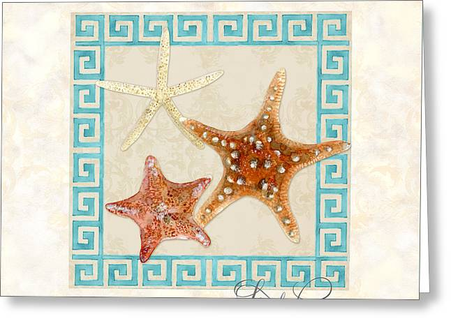 Cushion Paintings Greeting Cards - Treasures from the Sea - Starfish Trio Greeting Card by Audrey Jeanne Roberts