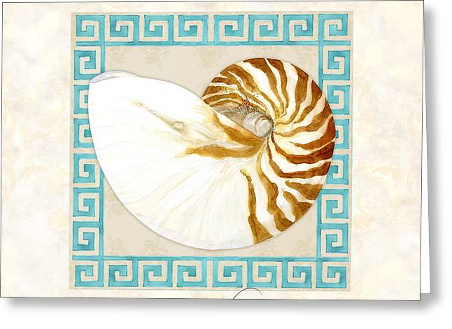 Sand Patterns Greeting Cards - Treasures from the Sea - Tiger Nautilus Shell Greeting Card by Audrey Jeanne Roberts
