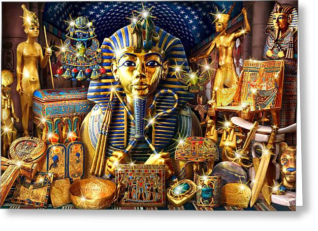 Treasures Of Egypt Greeting Card by Andrew Farley